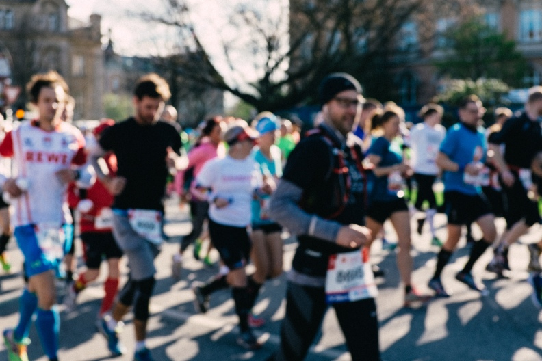 Marathin runners blurred