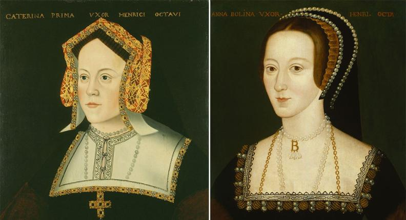 Catherine of Aragon wearing an English hood, Anne Boleyn wearing a French hood.jpg